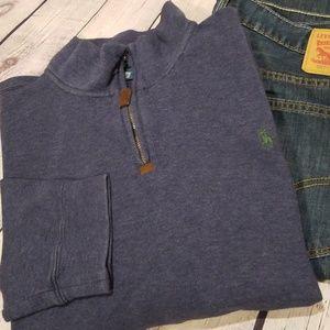 Polo By Ralph Lauren Blue Quarter Zip Pullover